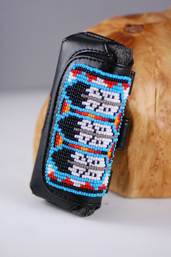 Navajo � Multi-Colored Beaded Leather Cell Phone Case by Tim Benally