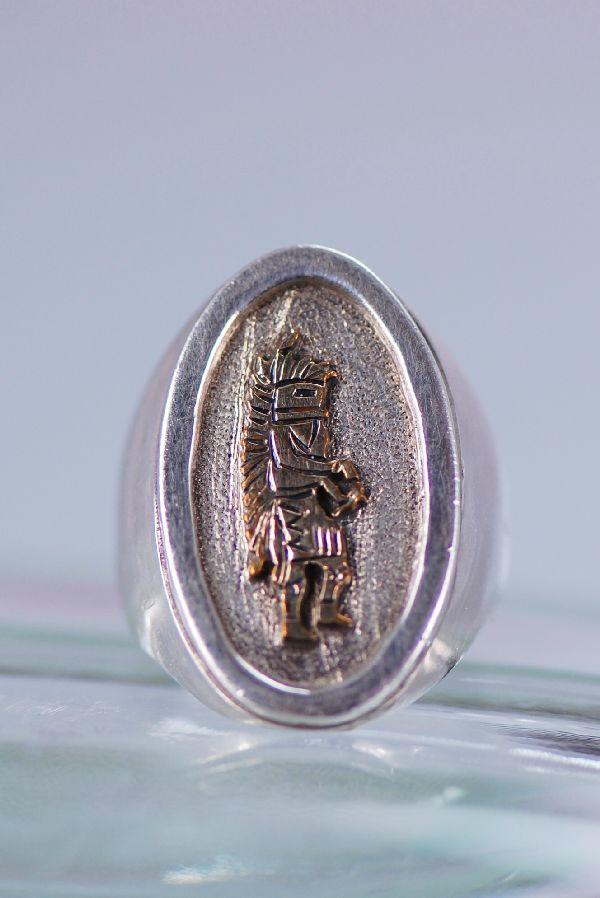 Navajo – 12ktGF and Sterling Chasing Star Kachina Man's Ring Size 9