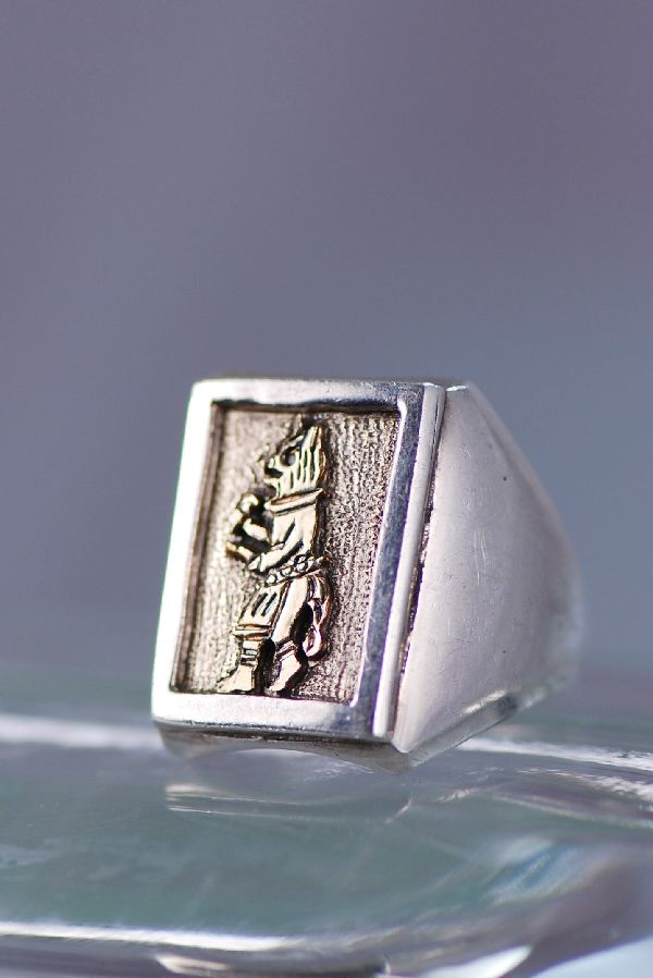 Navajo – 12ktGF and Sterling Wolf Kachina Man's Ring Size 10 ½