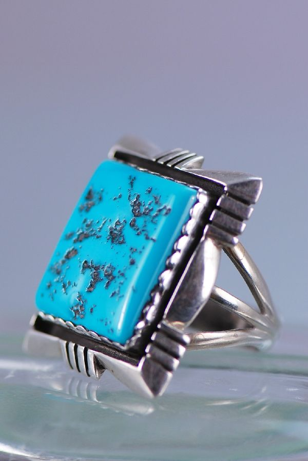 Ben Touchine Navajo High Quality Sleeping Beauty Turquoise Sterling Silver Ring Size 11