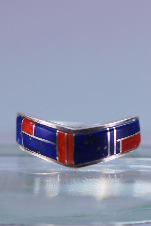 Navajo Coral Lapis Inlaid Ring