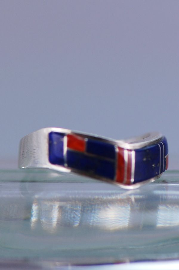 Navajo – Sterling Silver Lapis and Coral Ring Size 8