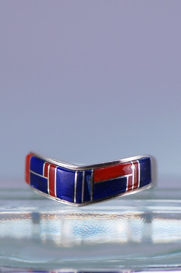 Navajo Lapis Coral Inlaid Ring