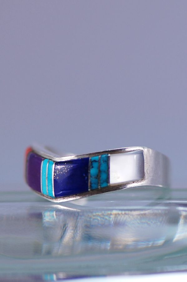 Navajo – Multi-Stone Inlaid Sterling Silver Ring Size 8