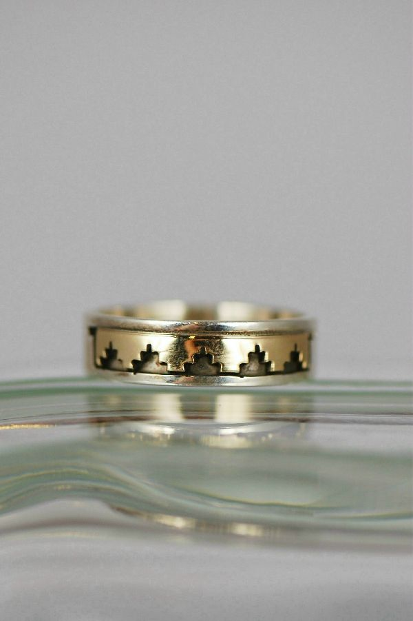 Navajo – 14KT Gold and Sterling Band Ring Size 11 1/4