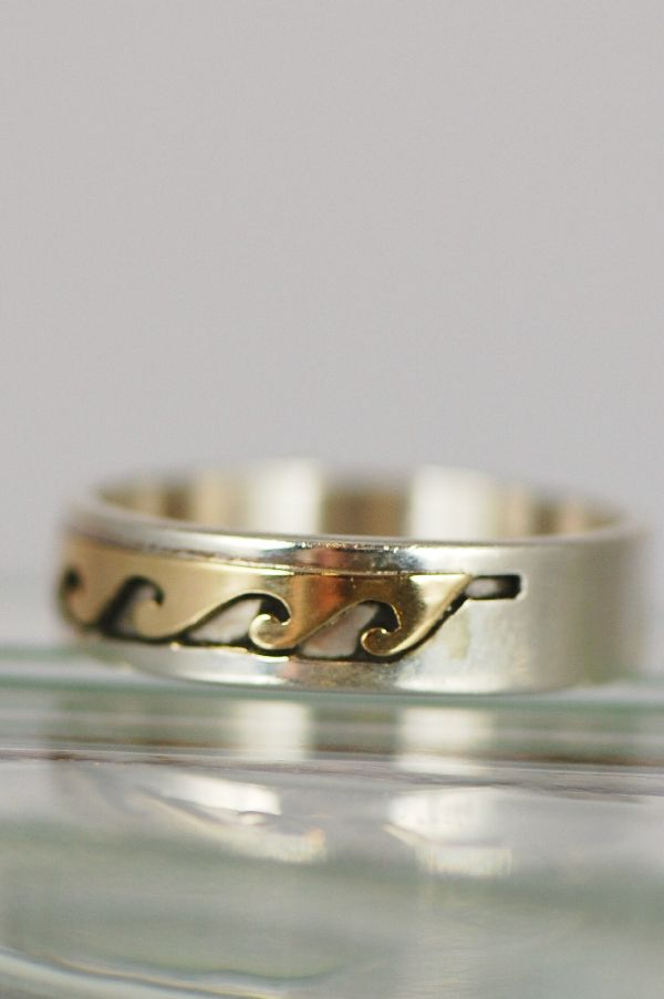 "Navajo – 14KT Gold and Sterling Band ""Water Symbol"" Ring Size 7"