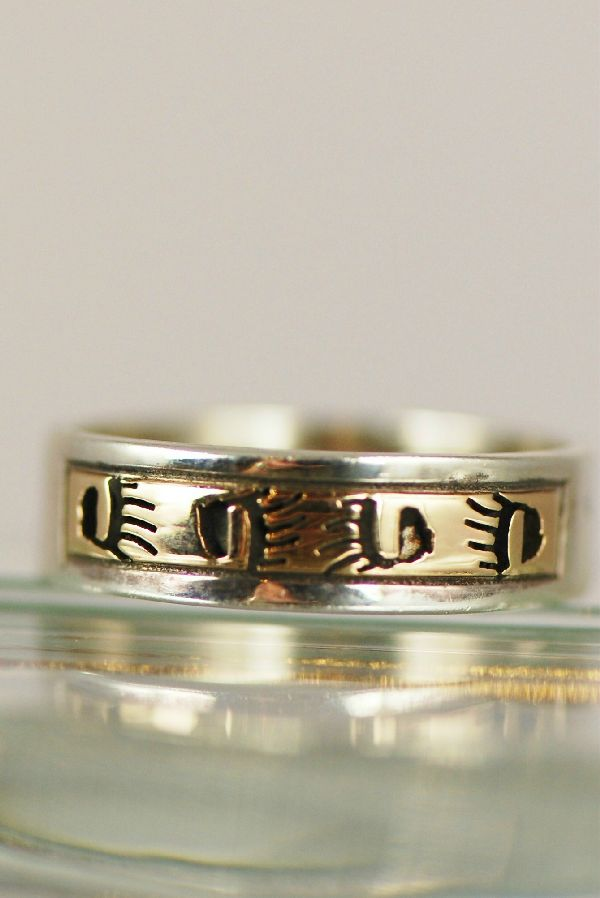 "Navajo – 14KT Gold and Sterling Band ""Bear Paw"" Ring Size 5 3/4"