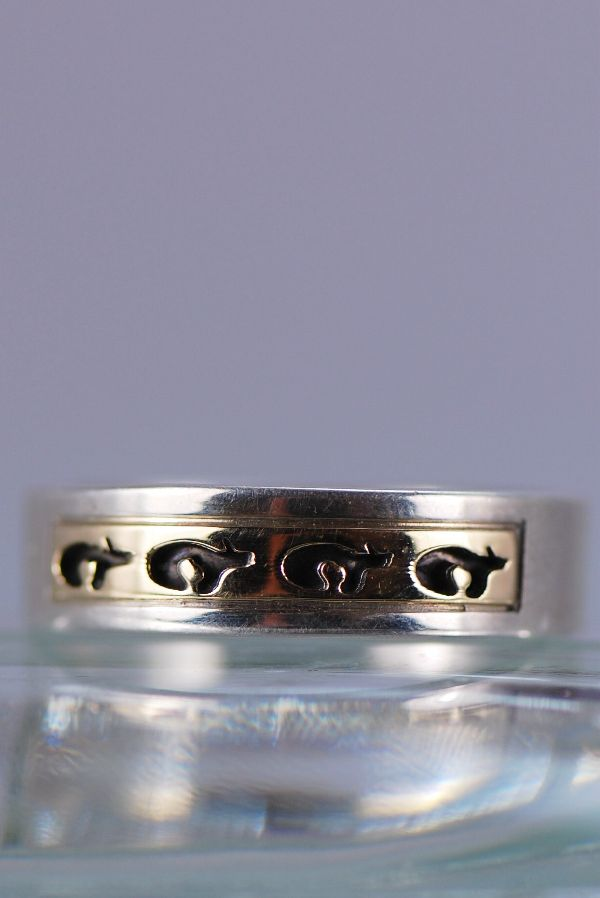 Navajo – 14KT Gold and Sterling Silver Bear Band Ring Size 11 1/2