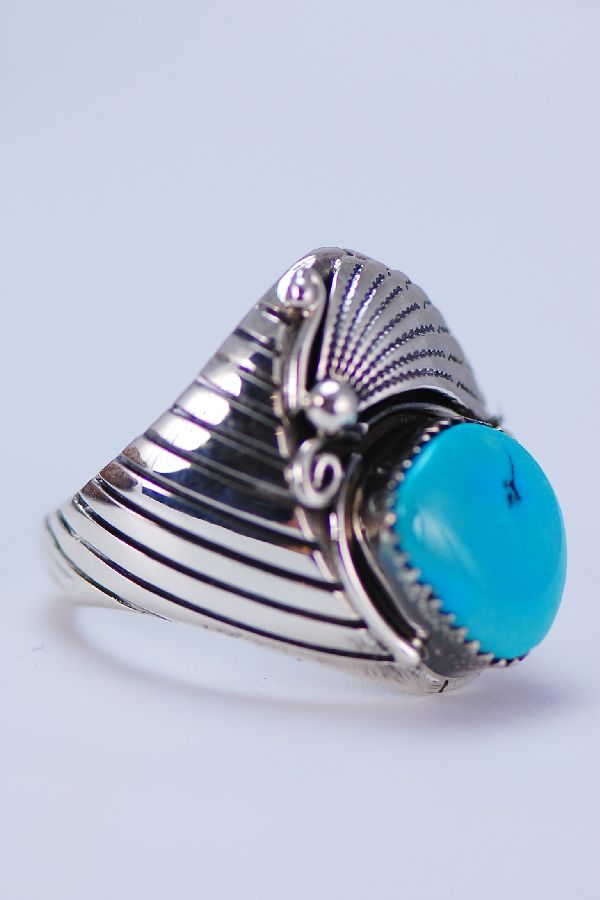 Navajo - Exquisite Blue Ridge Turquoise and Sterling Silver Ring Size 14 1/2