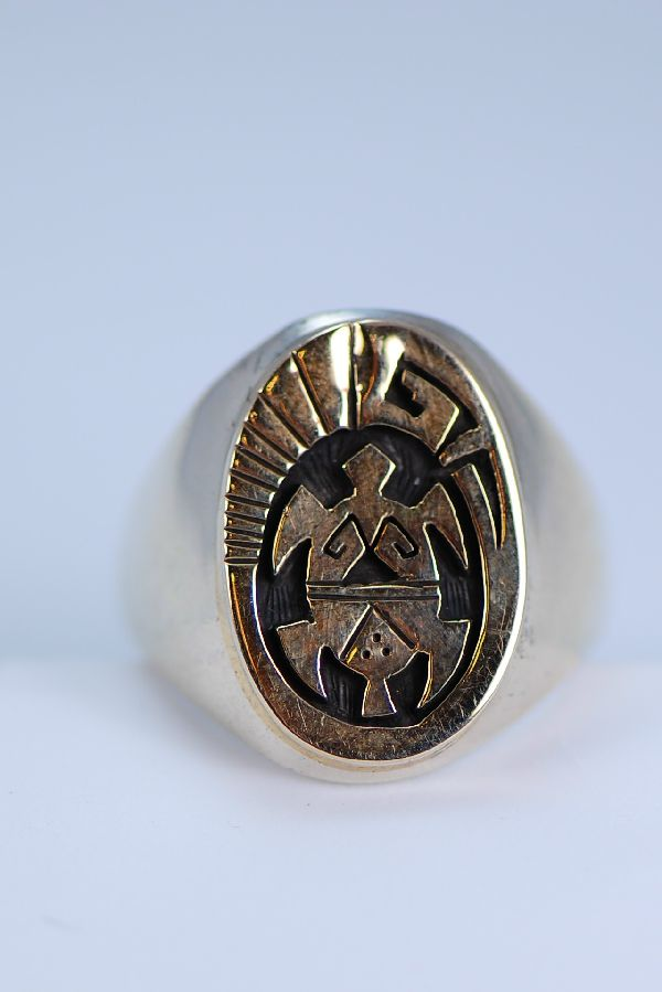 Navajo – 14KT Gold and Sterling Turtle Ring Size 12 1/4