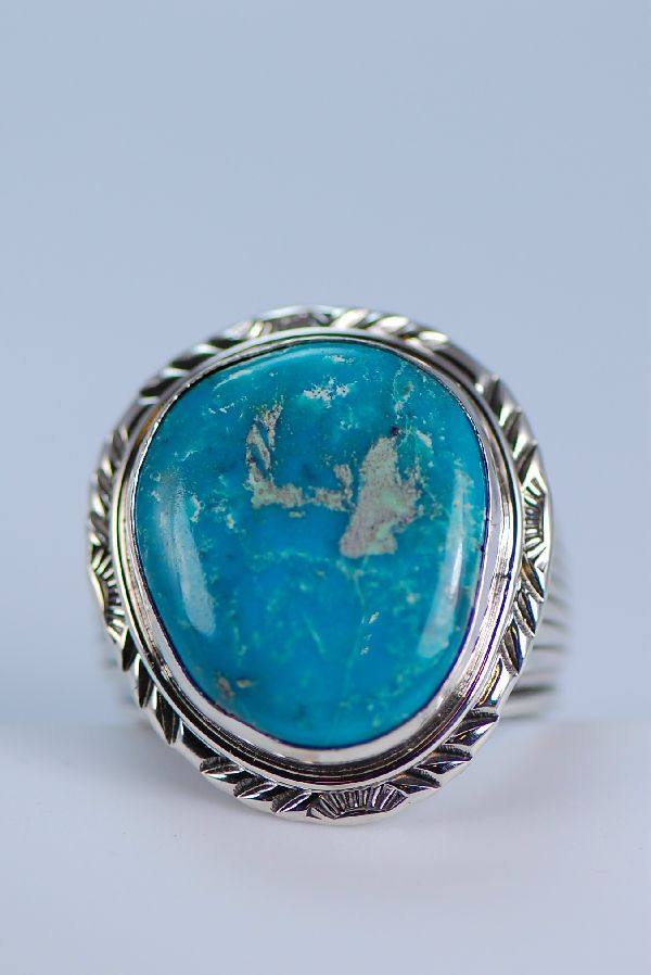 Navajo - Large Natural Fox Turquoise Sterling Silver Ring Size 14 1/2