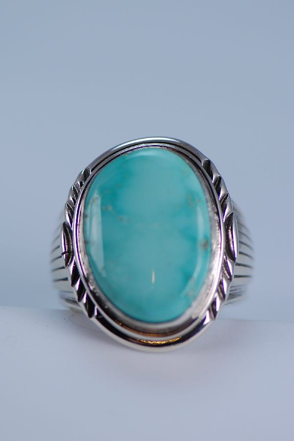 Mans Natural Fox Turquoise Sterling Silver Ring
