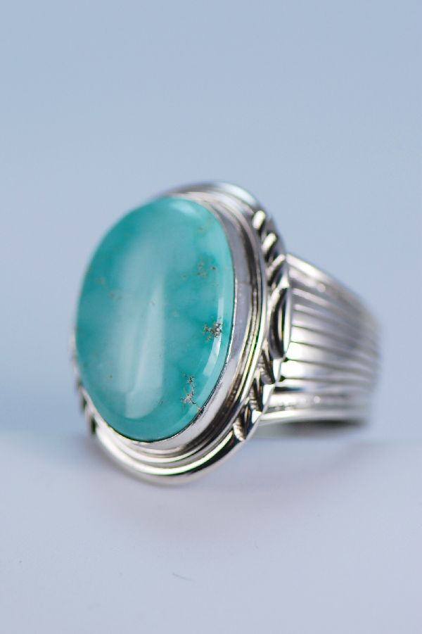 Navajo - Large Natural Fox Turquoise Sterling Silver Ring Size 13 1/4
