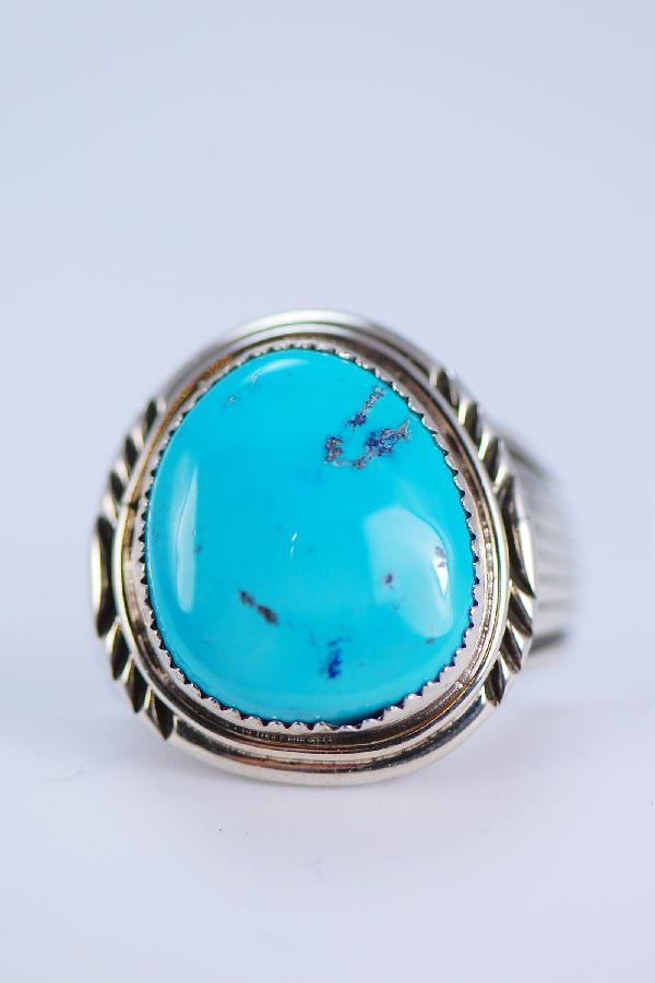 Navajo - Large Morenci Turquoise Sterling Silver Ring Size 14 1/4