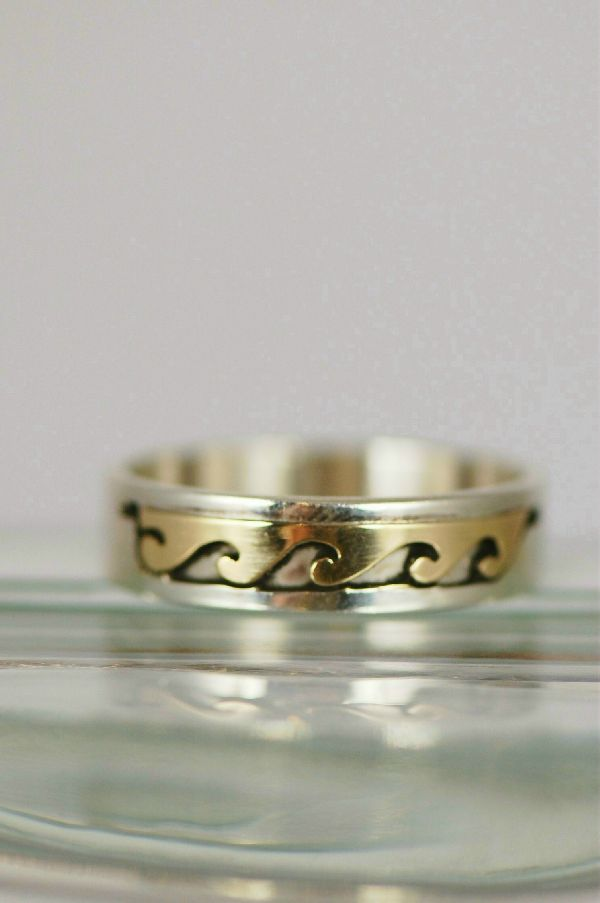 Navajo – 14KT Gold and Sterling Band Ring Size 11 3/4