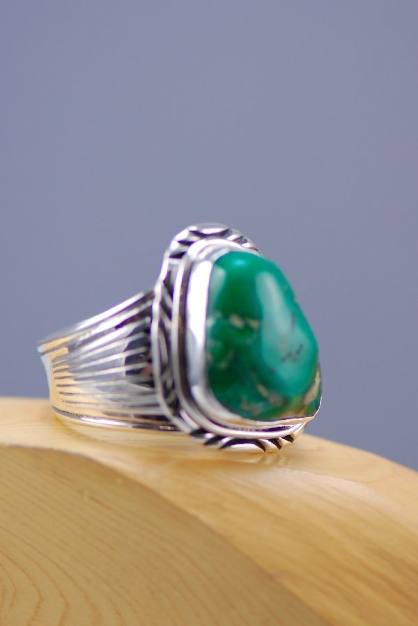 Navajo - Large Ferrian Varasite Sterling Silver Ring Size 14