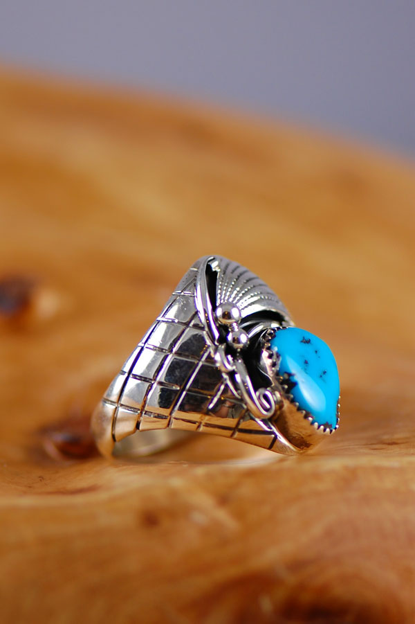 Navajo – Sleeping Beauty Turquoise Sterling Silver Man's Ring Size 14 1/2