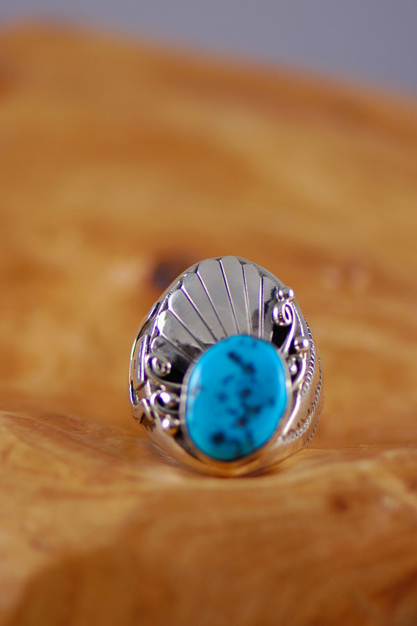Sleeping Beauty Turquoise Navajo Mans Ring