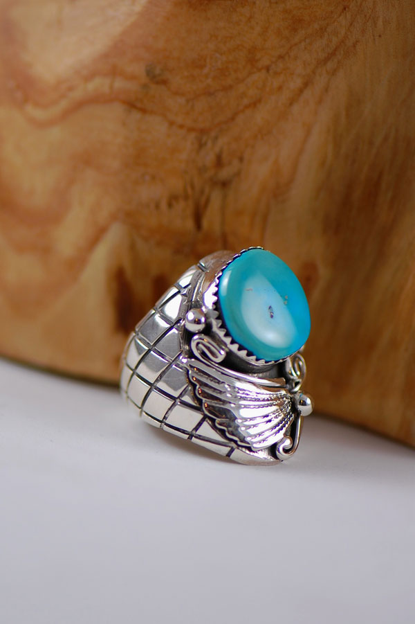 Navajo – Sleeping Beauty Turquoise Sterling Silver Man's Ring Size 7 1/4
