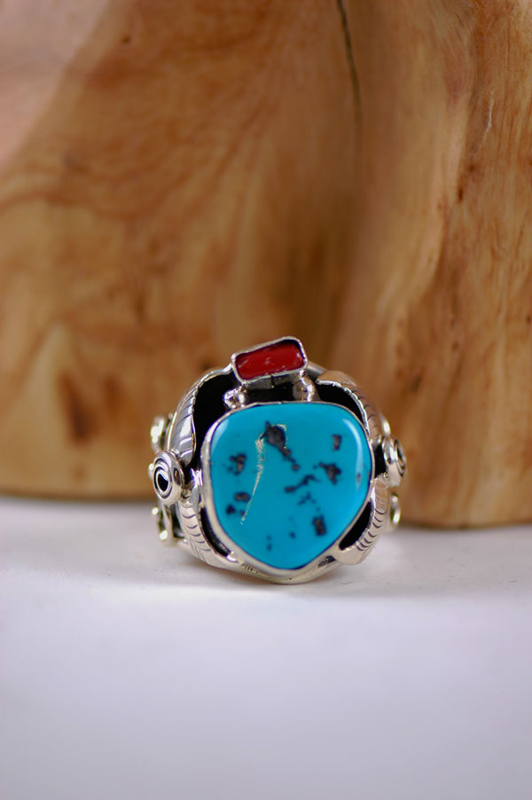 Navajo � Sleeping Beauty Turquoise and Coral Sterling Silver Ring Size 14 3/4