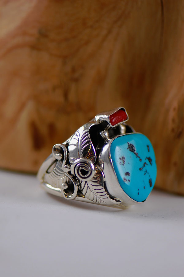 Navajo – Sleeping Beauty Turquoise and Coral Sterling Silver Ring Size 14 3/4