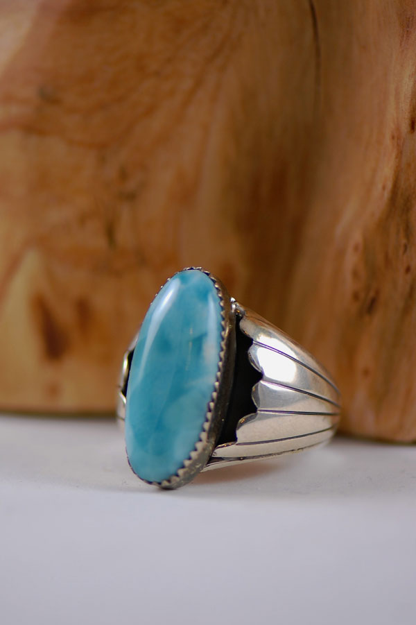 Navajo – Caribbean Larimar Sterling Silver Ring Size 13 3/4