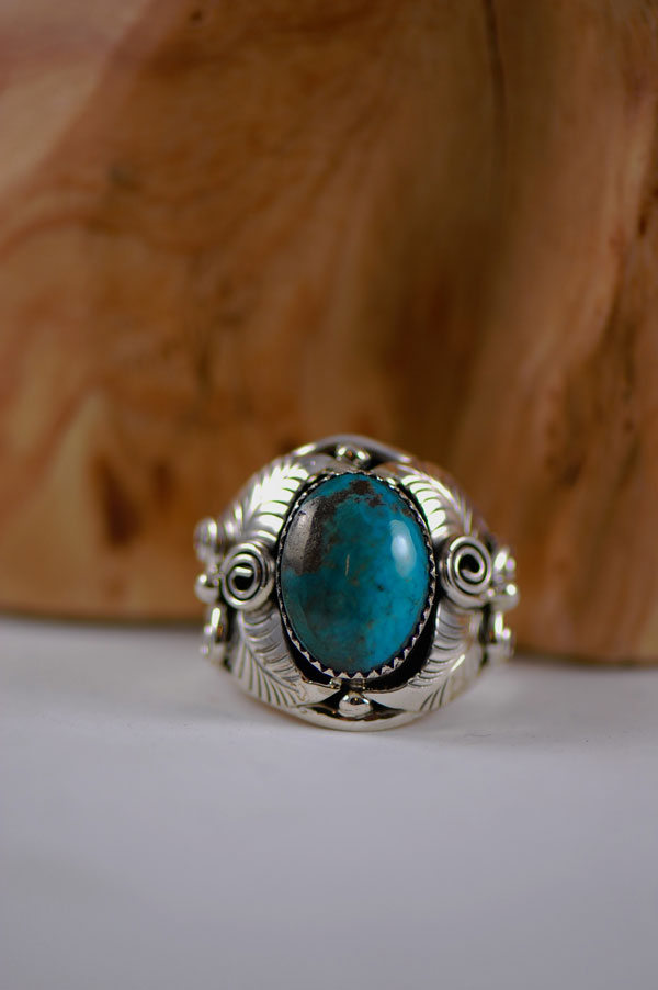 Navajo � China Mountain Turquoise Sterling Silver Ring Size 14 1/2