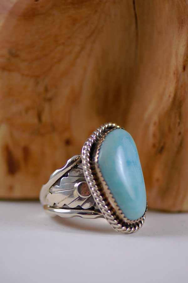 Navajo – Caribbean Larimar Sterling Silver Ring Size 11 3/4