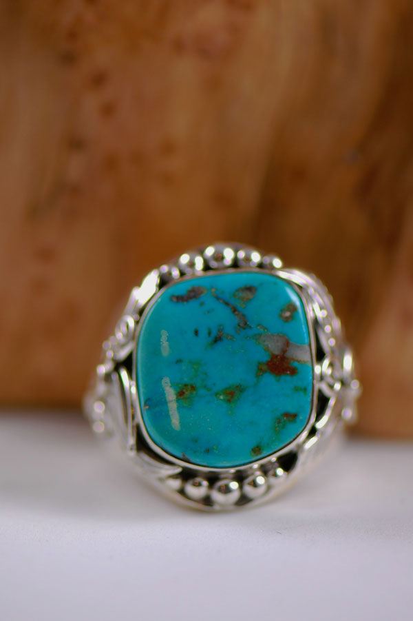 Navajo � Turquoise Mountain Turquoise Sterling Silver Ring Size 14 3/4