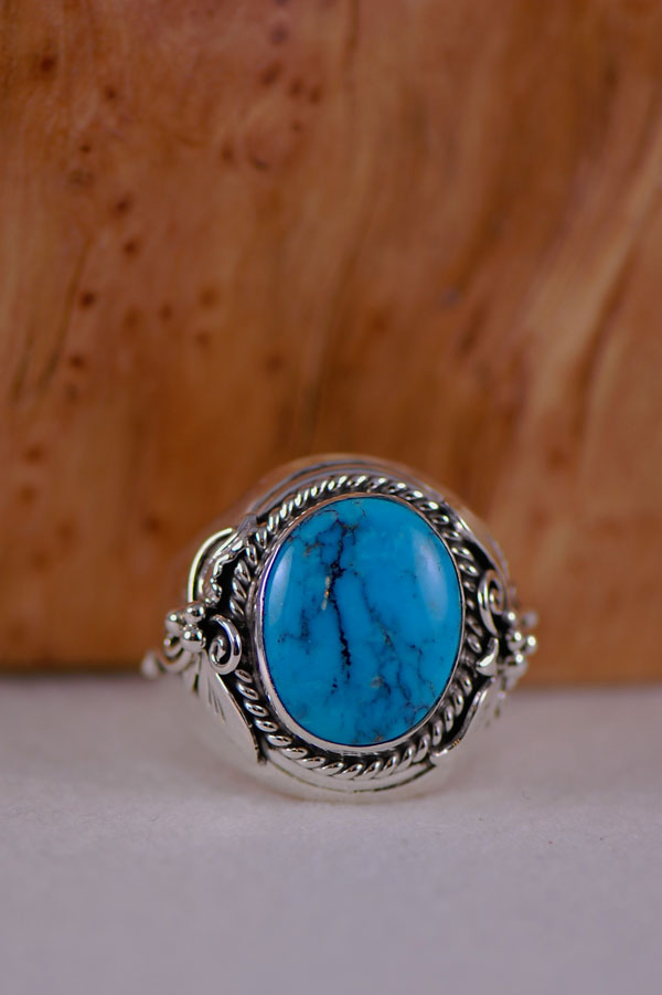 Navajo � Sleeping Beauty Turquoise Sterling Silver Ring Size 15