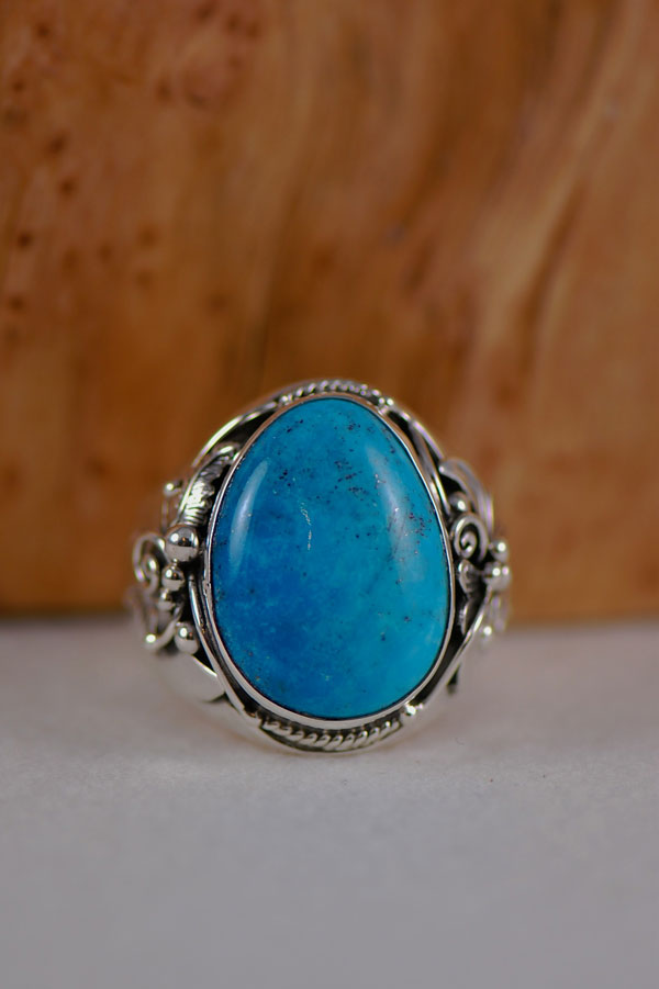 Navajo – Turquoise Mountain Turquoise Sterling Silver Ring Size 16 1/2