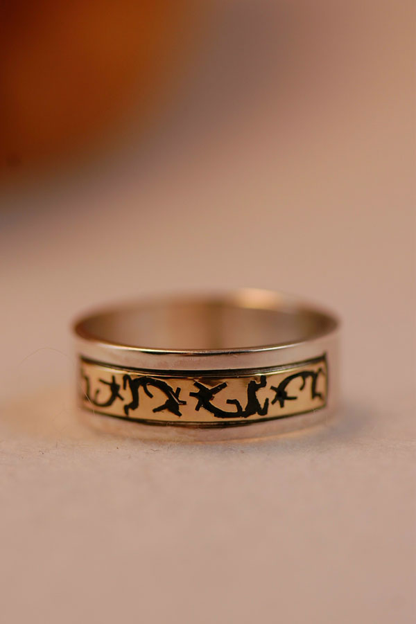 Navajo 14kt gold and sterling kokopelli symbol band ring size 8 3