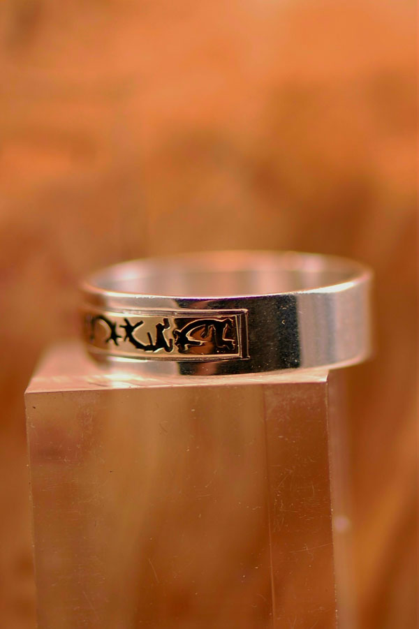 Navajo – 14KT Gold and Sterling Silver Kokopelli Band Ring Size 12 1/2