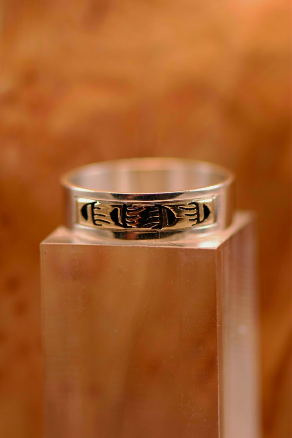 Navajo – 14KT Gold and Sterling Silver Bear Paw Symbol Band Ring Size 12 1/2