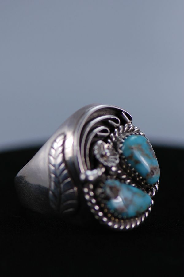 Navajo - 2 Stone Turquoise and Sterling Silver Man's Ring Size 12