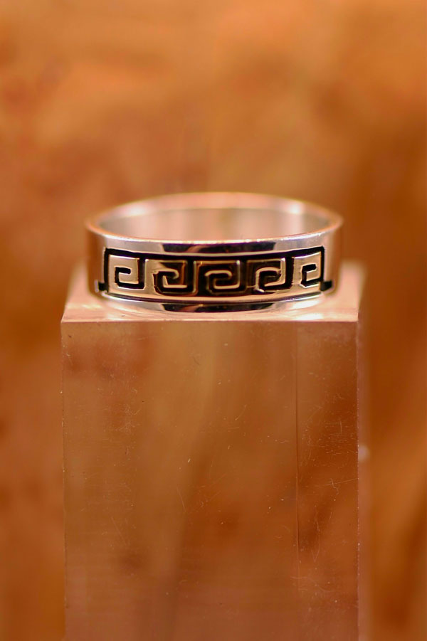 Navajo – 14KT Gold and Sterling Silver Water Symbol Band Ring Size 11 1/4