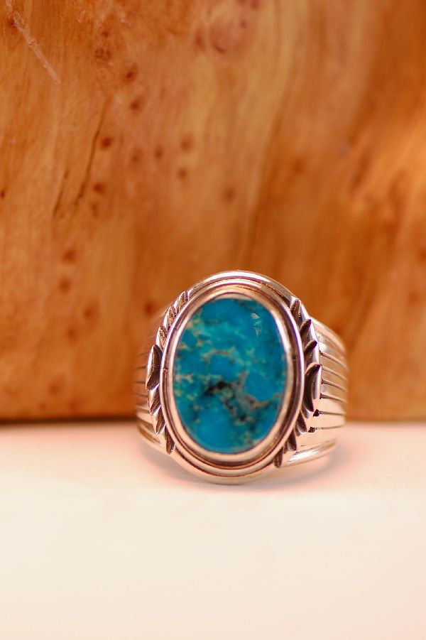 Navajo – Kingman Turquoise Sterling Silver Ring Size 9 1/2