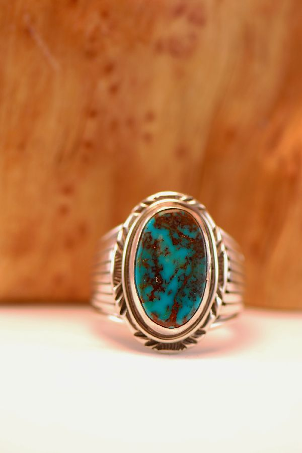Navajo – Apache Turquoise Sterling Silver Ring Size 11 3/4