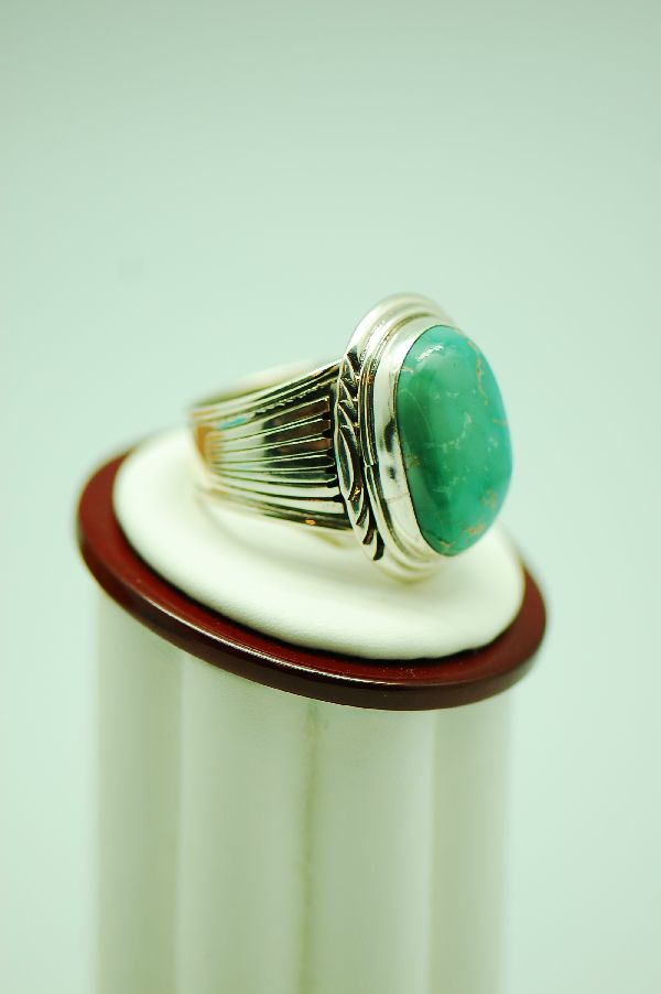 Navajo – Fox Turquoise Sterling Silver Ring Size 11 3/4