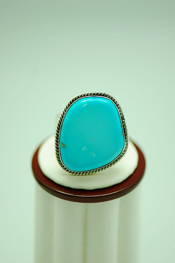 Navajo � Darling Darlene Turquoise Sterling Silver Ring Size 14 1/2