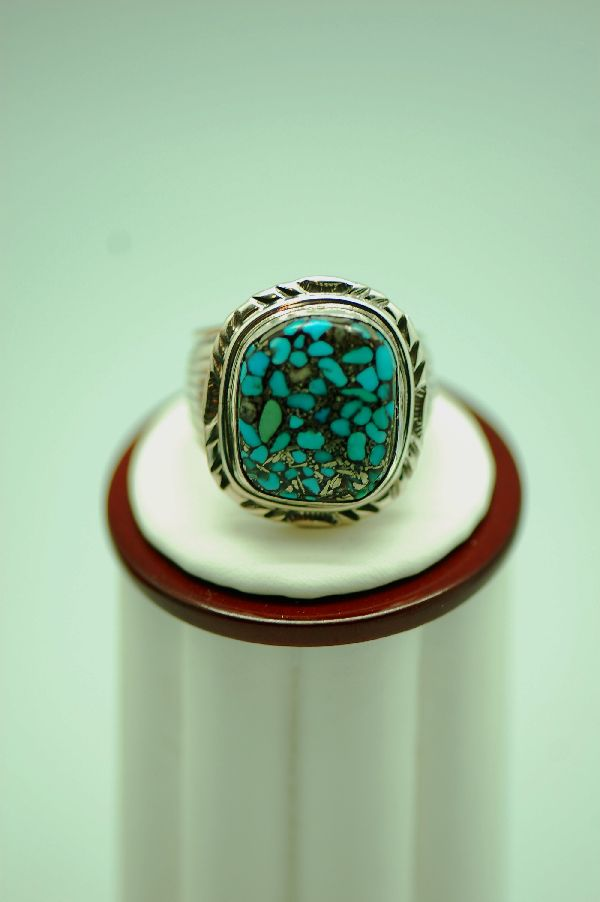 Navajo � Mosaic Turquoise Sterling Silver Ring Size 12 1/2