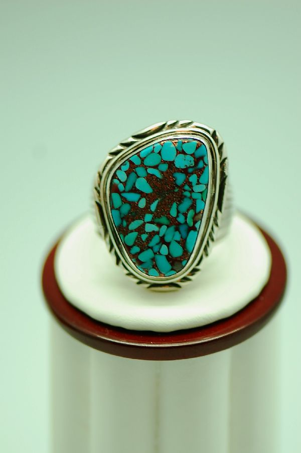Navajo – Mosaic Turquoise Sterling Silver Ring Size 11 3/4