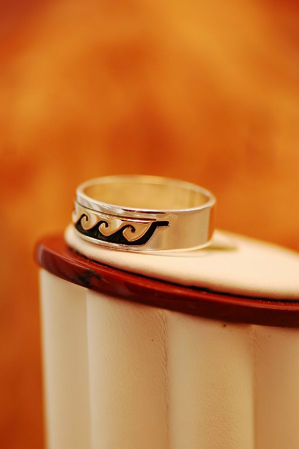 Navajo – 14KT Gold and Sterling Water Symbol Band Ring Size 11