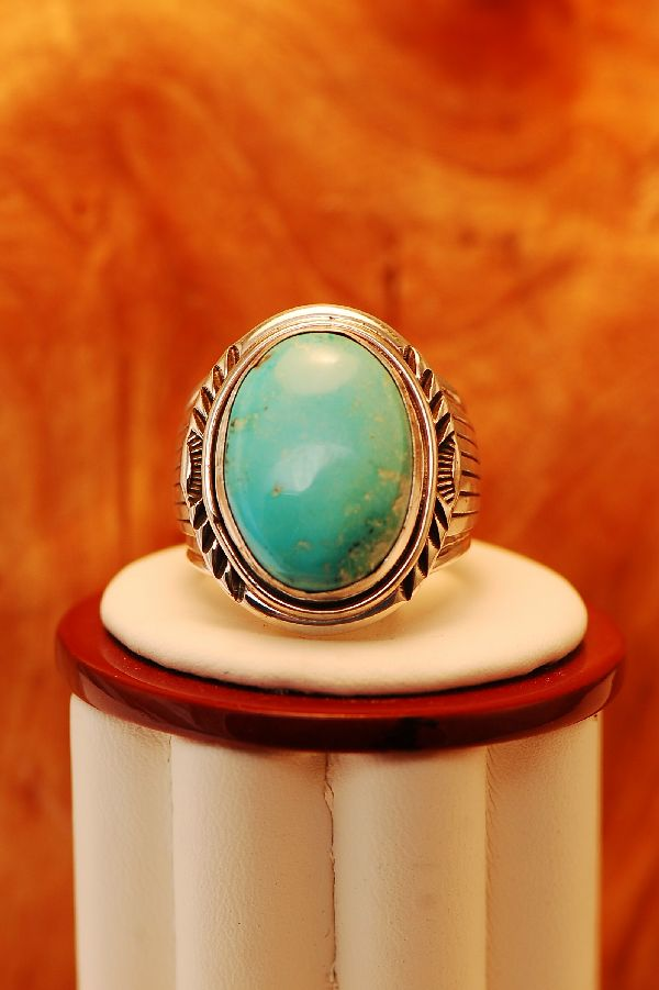 Navajo – Morenci Turquoise Sterling Silver Ring Size 10