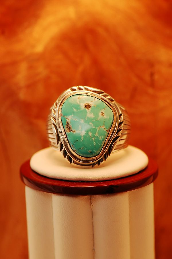 Navajo – Natural Fox Turquoise Sterling Silver Ring Size 14