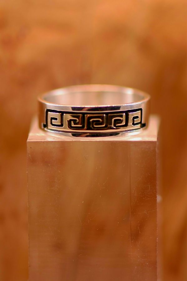 Navajo – 14KT Gold and Sterling Silver Water Symbol Band Ring Size 7