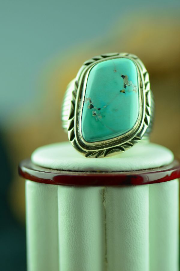 Navajo – Fox Turquoise Sterling Silver Ring Size 12