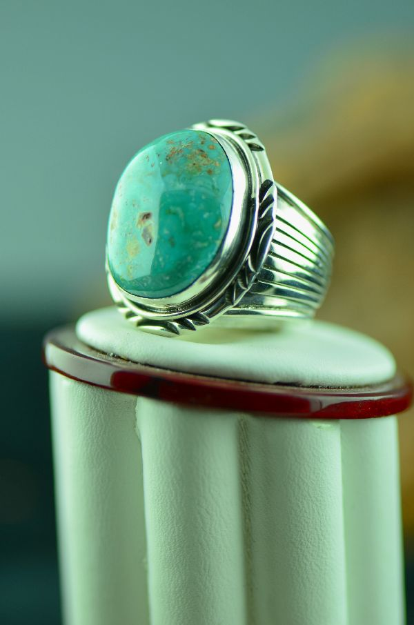 Navajo – Bisbee Turquoise Sterling Silver Ring Size 10