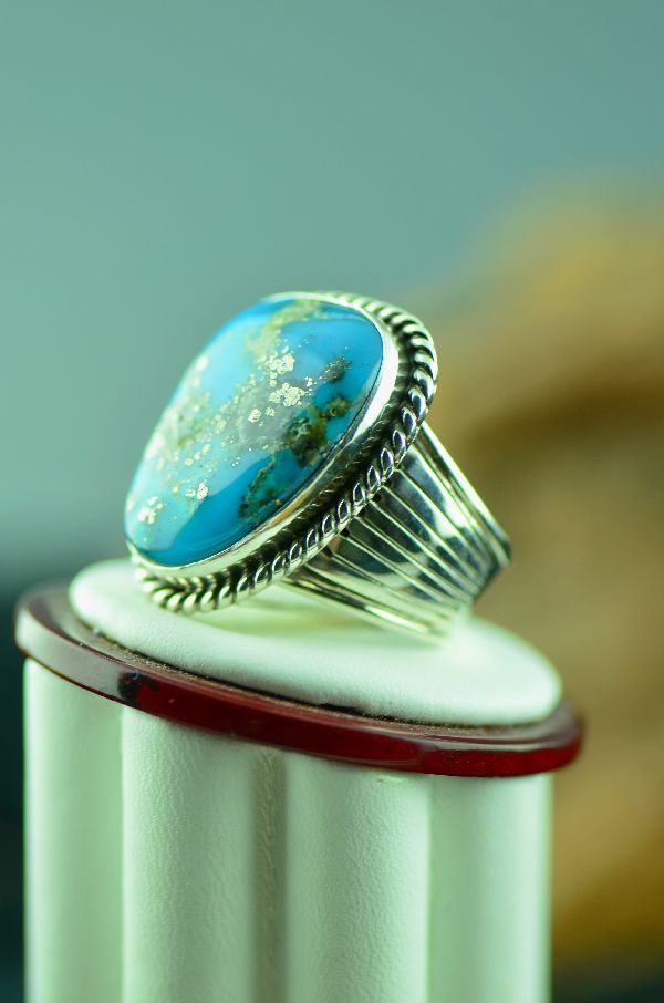 Navajo – Blue Gem Turquoise Sterling Silver Ring Size 10