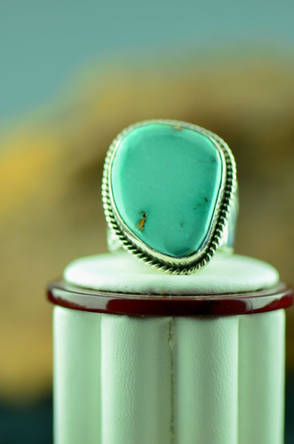 Navajo – Fox Turquoise Sterling Silver Ring Size 10